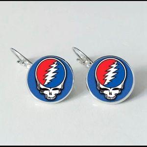 Grateful Dead SYF Glass Round Drop Earrings